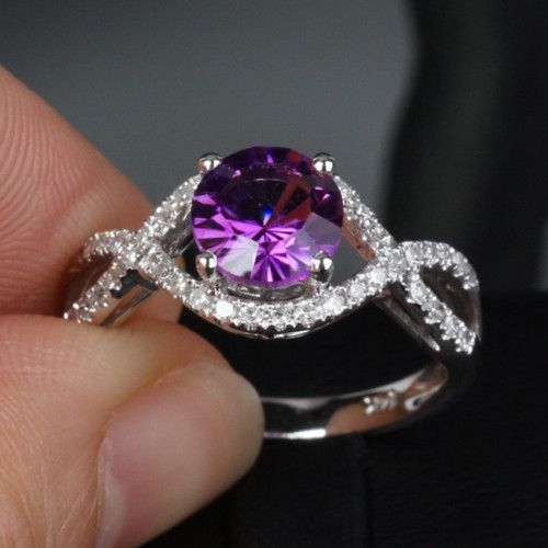 Engagement Ring Vs Wedding Ring VS Dark Amethyst 14k White Gold Diamond Engagement Ring Princess Cut