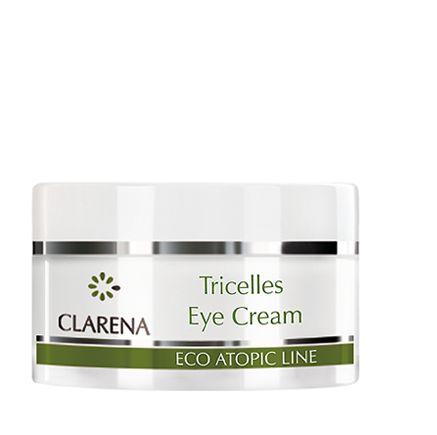 Krem pod oczy dla cery atopowej i bardzo wrażliwej (15 ml). Regeneruje, nawilża i redukuje głębokość zmarszczek, dzięki zawartości 3 rodzajów komórek macierzystych: PhytoCellTec™ Solar Vitis, PhytoCellTec™ MalusDomestica, PhytoCellTec™ Argan. Witamina E działa przeciwzapalnie, a skwalen wzmacnia naturalną barierę lipidową skóry. #clarena #azs #skoraatopowa #Tricelles #atopic Clarena