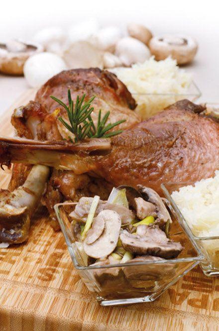Turkey leg with mushroom
