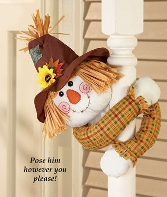 Scarecrow with poseable arms fall decoration for Puertas decoradas de navidad trackid sp 006