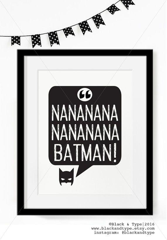 Nananana Batman! || batman print, super hero print, batman, kids prints, batman and robin, super hero print, nursery art, batman print, mono