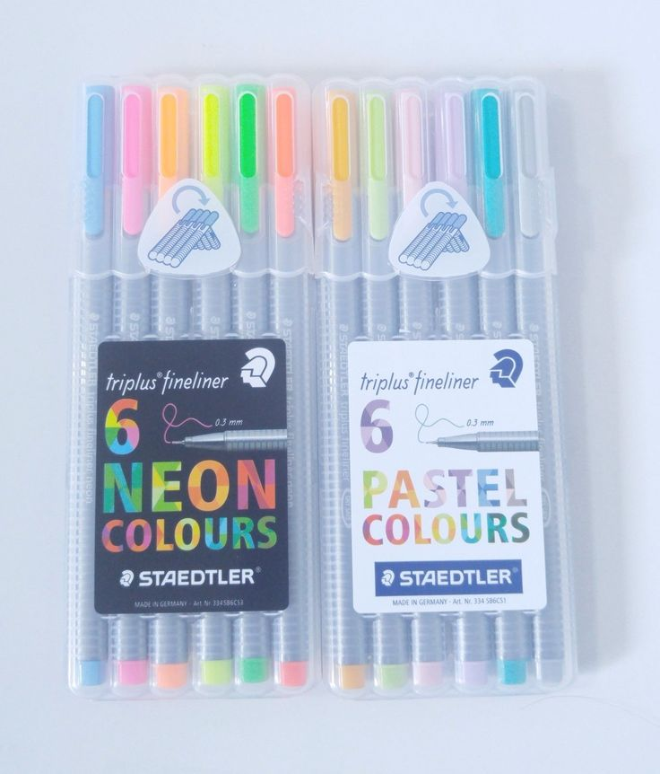 Staedtler Triplus Fineliner 0.3Mm 6 Assorted Pastel + Neon Colors Pen 2 Set