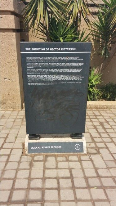 The shooting of Hector Peterson during the June 16 1976  student uprising engraved as narrated by his sister. Vilakazi street Precinct Soweto South Africa