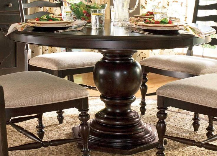 uf 932655 paula deen tobacco round pedestal table - Pedestal Kitchen Table