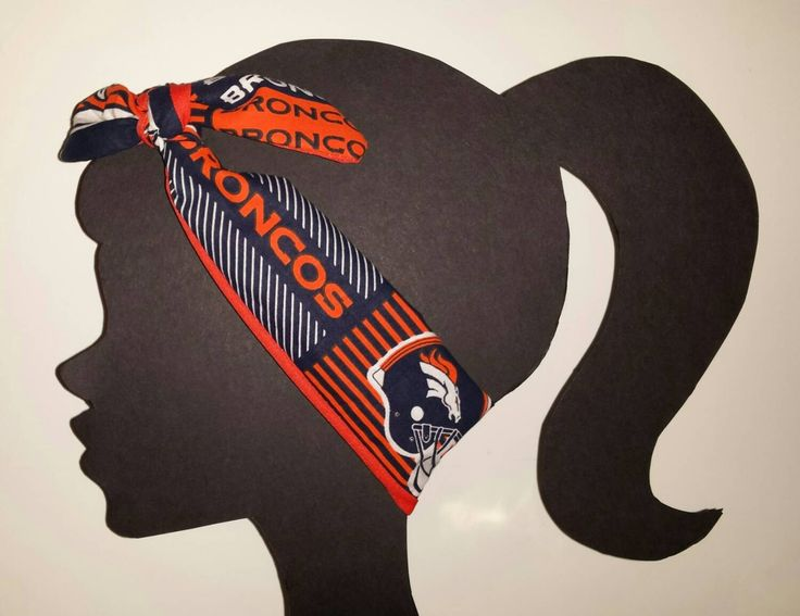 Broncos Headband NFL Accessory Tie head wrap Top Knot Headband Denver Broncos Team Fabric