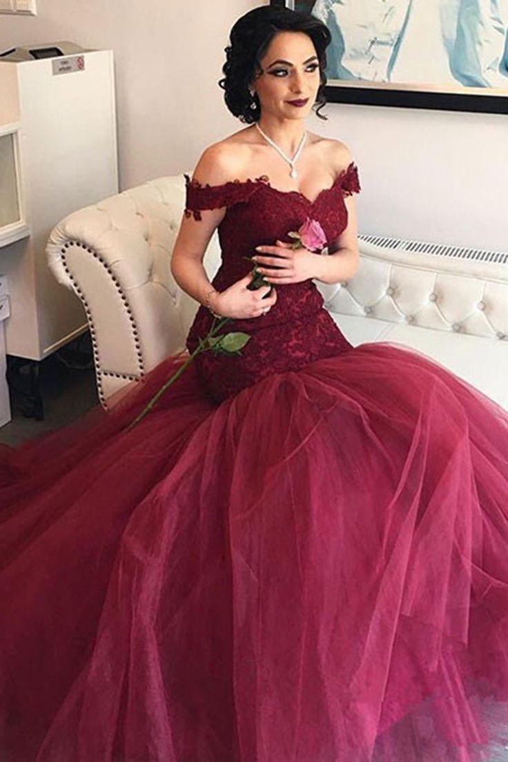 Burgundy prom dress, ball gowns wedding dress