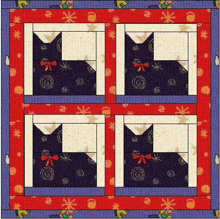 Fairly simple pieced cat pattern, would be cute for mom