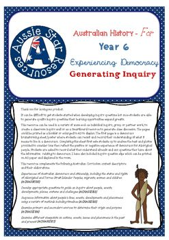 Great resource for generating inquiry in your Year 6 Australian History Class. Links with the Australian Curriculum.