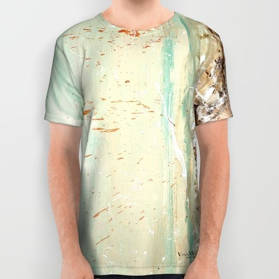 Green Ocean waves abstract unisex T-shirts for men and women by Vinn Wong | Full collection vinnwong.com | International Shipping | Visit the shop or Pin it For Later!