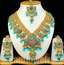 Kundan Wedding Beautiful Indian Jewellery Rani Long Necklace Set Turquoise J021