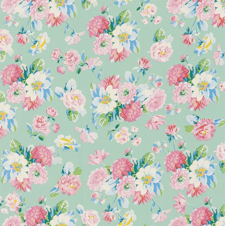 La Vie en Rose Mint wallpaper by Paper Moon