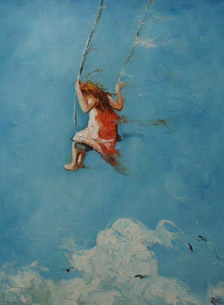 Painting of a young girl swinging into the unknown