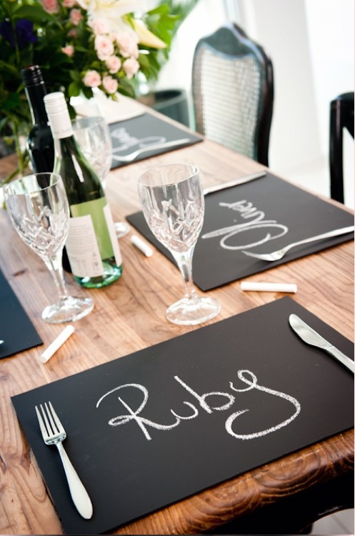 placemats with chalk marker