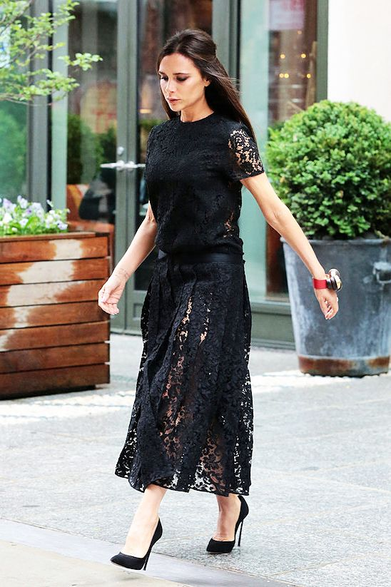 Victoria Beckham In Black Lace Dress Fashion Celebrity Street Style Inspiration