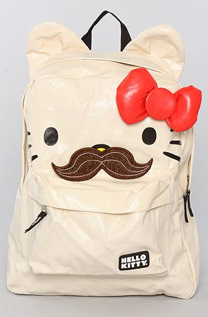 Loungefly The Hello Kitty Mustache Backpack : Karmaloop.com - Global Concrete Culture: Mustache Backpacks, Loungefli Mustache, Products, Kitty Mustache, Bags Handbags