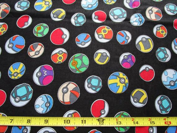 A fun fabric featuring every Pokemon Trainers favorite tools - Pokeballs! Fabric is non-directional. This listing is for 1 yard (36 x 44). 100%
