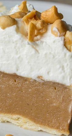 Butterscotch Pie ~ Old fashioned butterscotch custard served in a pre-baked pie crust then topped with sweetened whipped cream and chopped roasted cashews... Your butterscotch loving taste testers are going to thank you for this one!