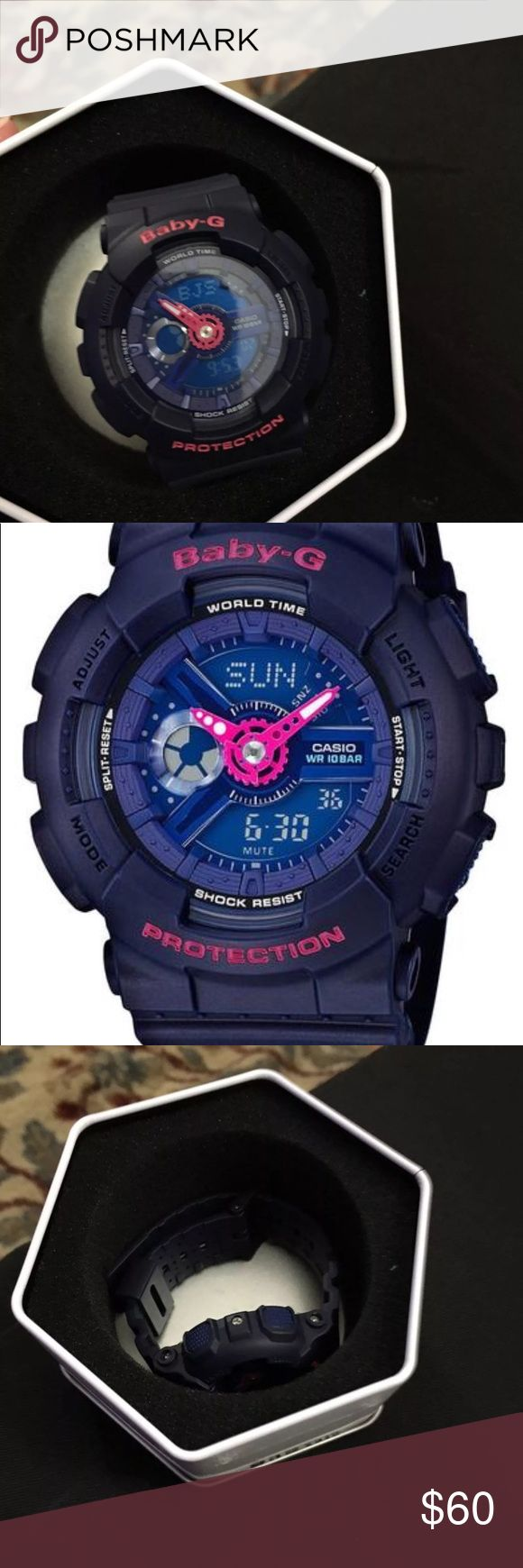 Brand new baby g shock! Navy and pink baby g shock!! Brand new, never worn. Comes in original metal case. G Shock Accessories Watches
