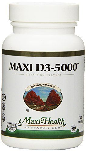"""Maxi Health Natural Vitamin D3 - """"5000 IU"""" - Nutrition Supplement , 180 Tablets , Kosher //Price: $19.83 & FREE Shipping //     #hashtag3"""