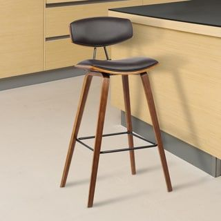 Armen Living Fox Mid Century Brown Faux Leather Barstool With Walnut Wood Frame Bar Height Fabric