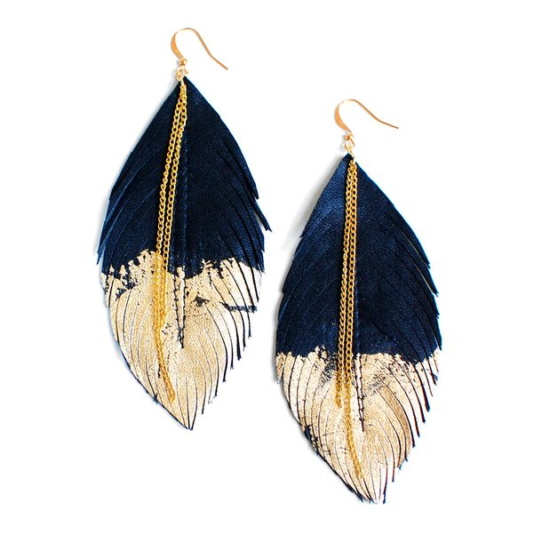 Feather Earrings Black