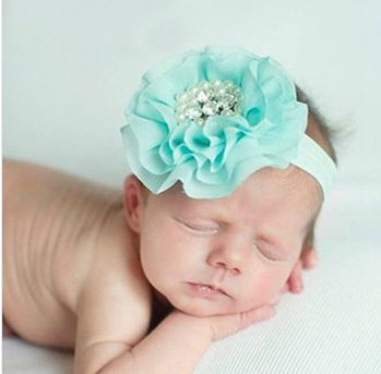 Baby girls pearl diamond chiffon flower Headband Headwear - babybomba