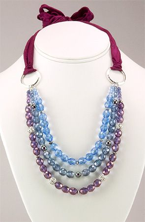 Jewelry Making Idea: Wine Country Necklace... Don't really care for the choice of beads, but I like the knit ties at the back.