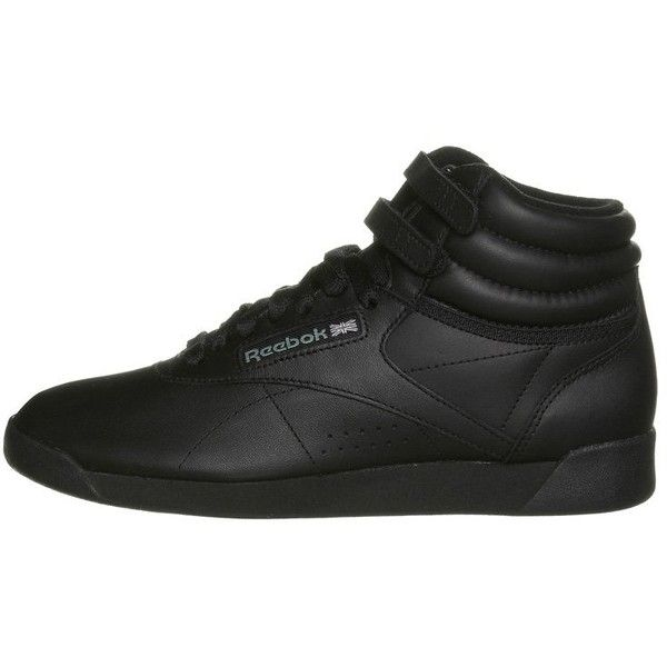 Reebok Classic FREESTYLE HI ($72) ❤ liked on Polyvore featuring shoes, sneakers, eleanor, black sneakers, black trainers, reebok high tops, reebok footwear and high top shoes