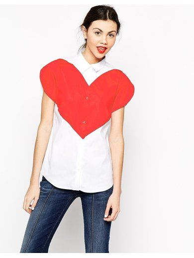 Love Moschino Large Heart Short Sleeve Shirt - Red