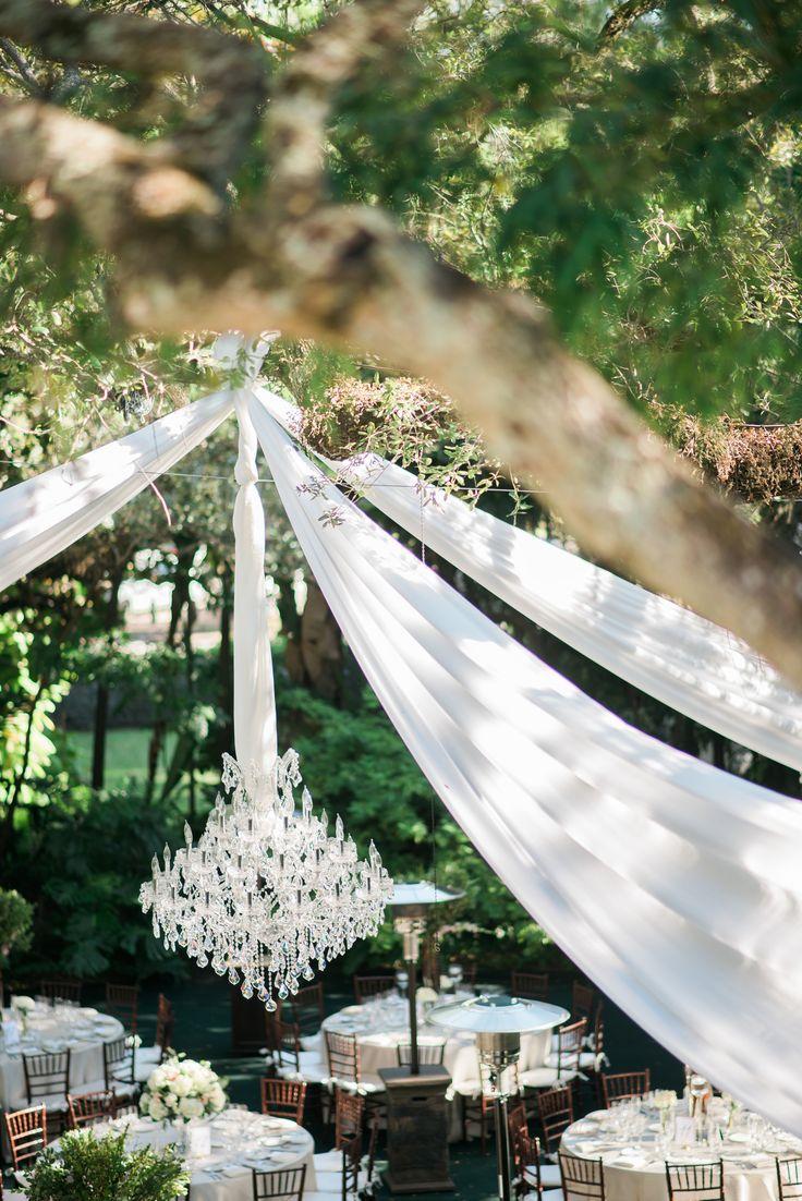 Outdoor Reception with Chandelier | Miami Wedding | Venue: Villa Woodbine