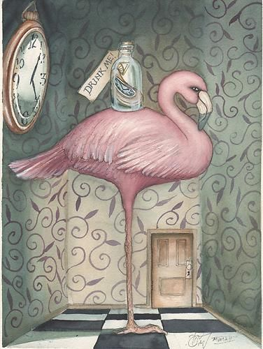 The flamingo in this artwork shows dominance because it is the largest and most noticeable object.