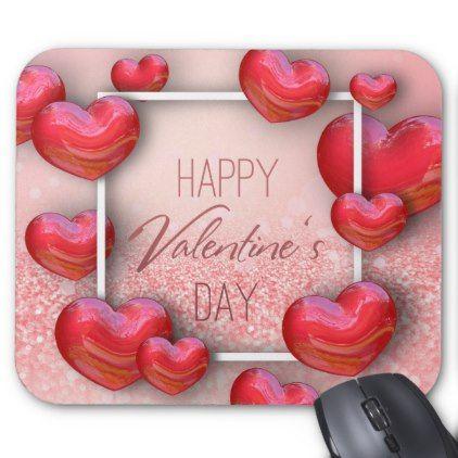 Valentine's Day Red Hearts Glitter - Mousepad - cyo diy customize unique design gift idea perfect