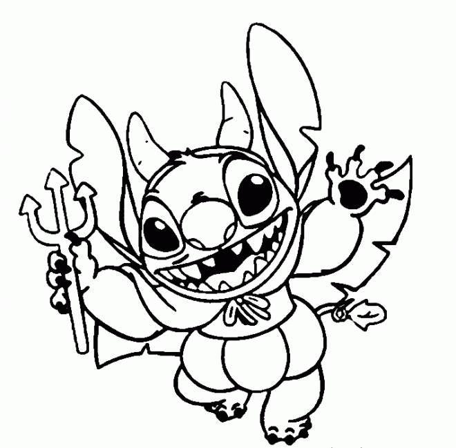 Coloriage Stitch comme dible dans Disney Halloween et ...