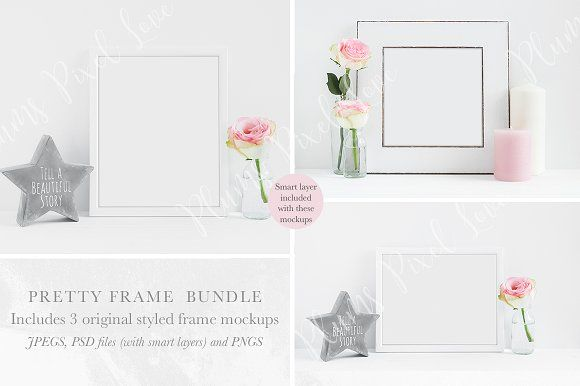 Floral Frame Mockups Mini Bundle by Plums Pixel Love on @creativemarket