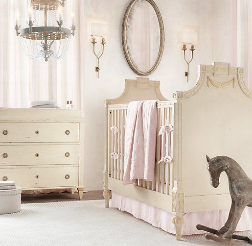 elegant baby nursery in pink and cream