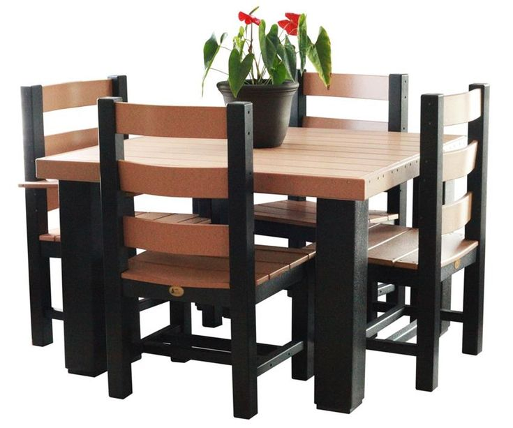 Amish Lux Poly Wood Square Contemporary Table Set  Shop the Entire LuxCraft Poly Furniture Collection  A quaint addition to any outdoor space, our LuxCraft Poly Square Dining Set offers a fun place for people to get together and talk!