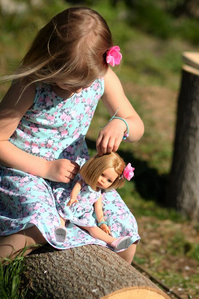 Floral mint garden dress for doll and girl. Summer in the city. Garden party. Birthday gift. #present #gift #geschenk #birtday