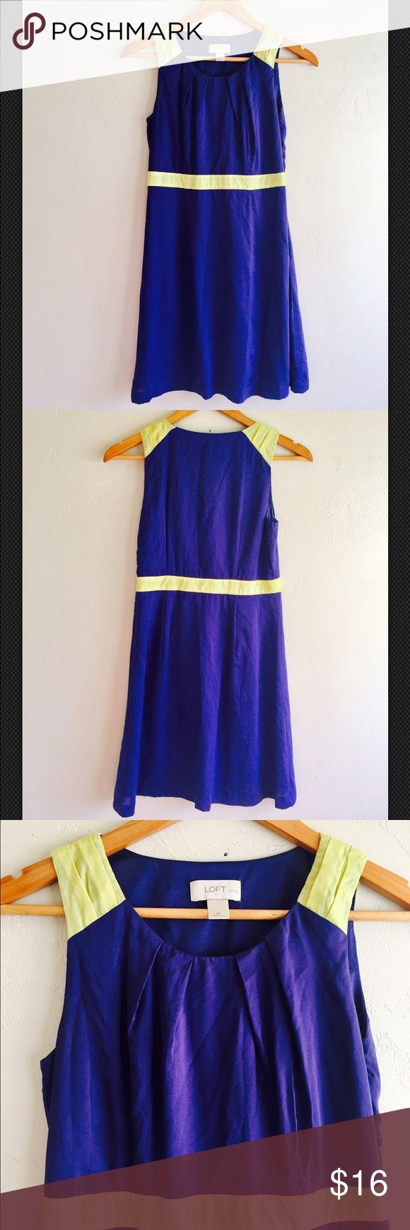 Ann Taylor Loft Petite Navy Blue Yellow Dress Ann Taylor Loft Petites Navy Blue Yellow Sleeveless Sheath Dress  Petite 0 P Moral/polyester Preowned LOFT Dresses