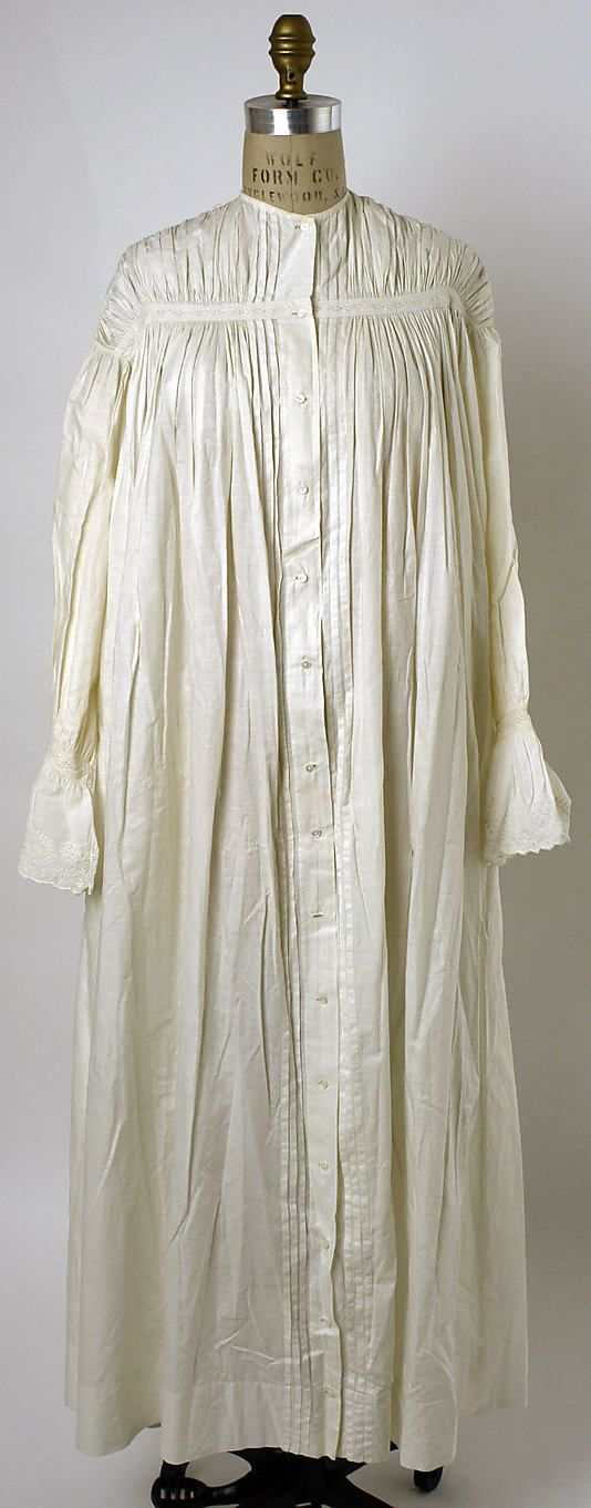 Cotton nightgown 1825–30, probably American - in the Metropolitan Museum of Art costume collections.