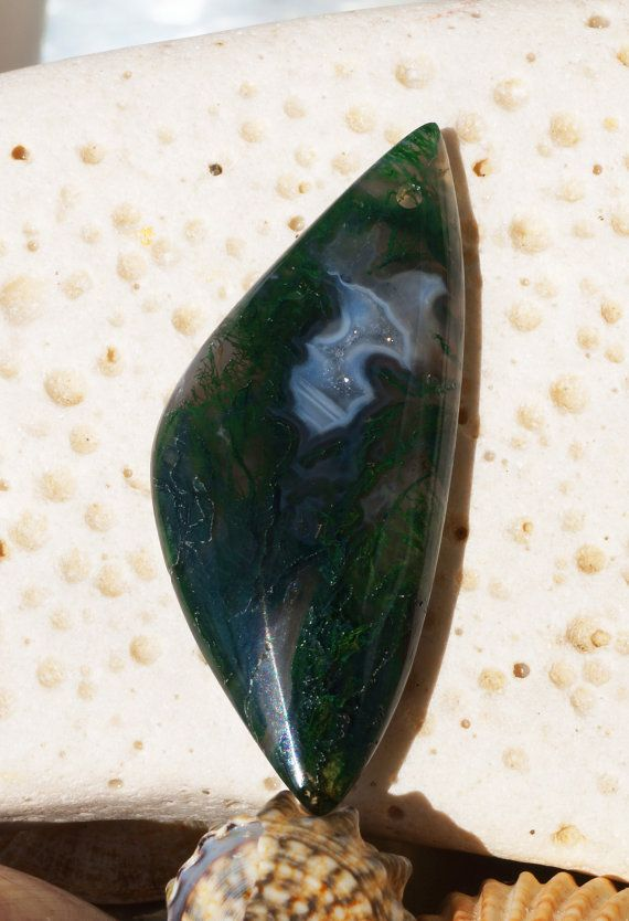 Natural moss agate gemstone pendant bead stone (169)