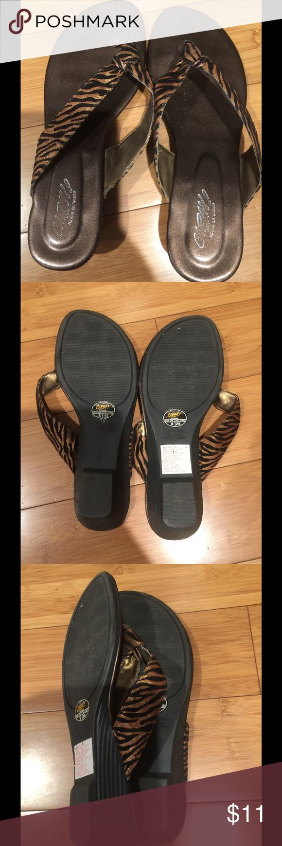 Caray size 8 flip flops Caray flip flops size 8 wedge heels caray Shoes