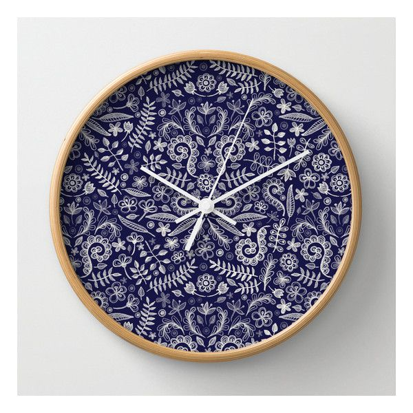 Chalkboard Floral Doodle Pattern In Navy & Cream Wall Clock ($30) ❤ liked on Polyvore featuring home, home decor, clocks, wall clocks, battery clock, navy blue home decor, battery operated wall clock, navy home decor and round wall clock