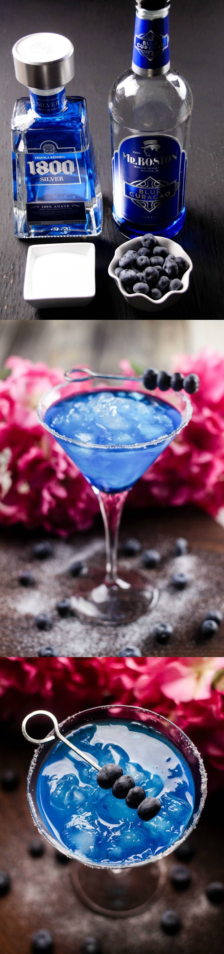 Make this delicious blueberry margarita cocktail in minutes! You'll taste the margarita flavor with a pretty blue color. Use fresh blueberries to adorn the glass and salted sugar on the rim!