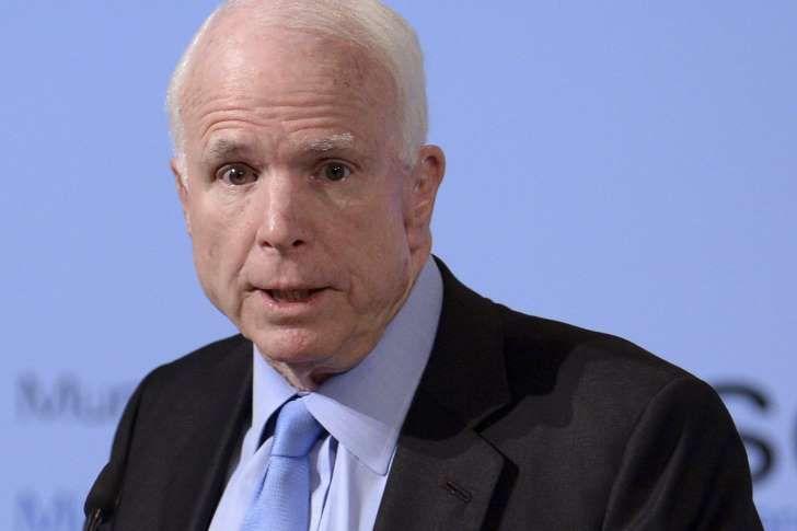 US Senator John McCain speaks during the 53rd Munich Security Conference (MSC) at Hotel Bayerischer Hof.