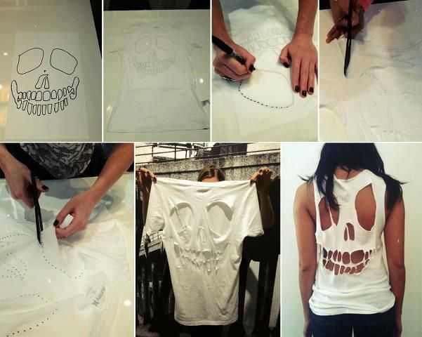 change your old T shirt!!Cutout, Skull Shirts, Shirts Cut, Cut Shirts, Diy T Shirts, Diy Shirts, Cut Out, Halloween Ideas, Old T Shirts