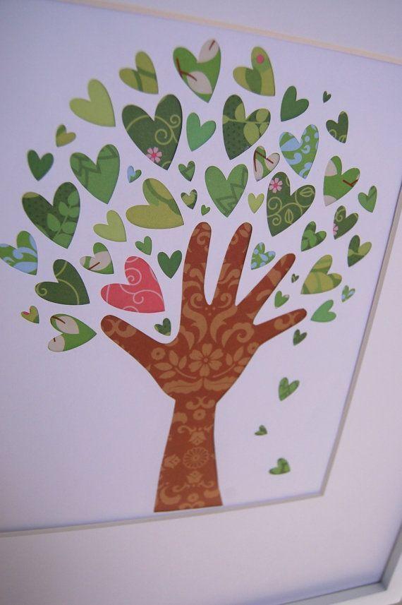 Idee für ein Bild zum Muttertag: Die eigene Hand abpausen, ausschneiden, als Baumstamm mittig auf ein papier kleben. Dann viele Herzen als Blätter drumherum arrangieren.