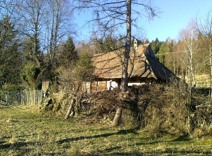 Traditional wooden architecture, wooden cottage in Beskidy mountains, Zawoja, Poland