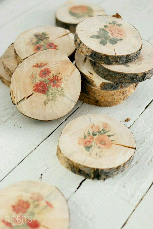 Wood slices with floral prints make great costers!