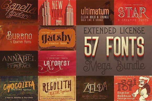 Cool Fonts MegaBundle - 57 Fonts by Cruzine on @creativemarket