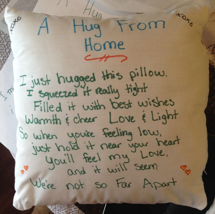 Lady made this as a Deployment Pillow for her Husband when he shipped out. It would work well for children that are going to stay the night w/ family or friends for a night also. Very sweet and great idea.